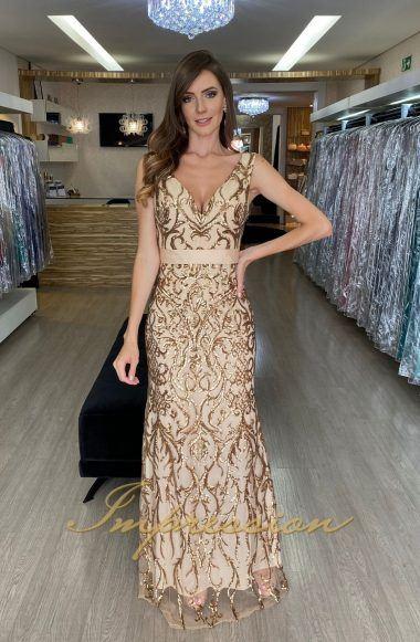 Vestido de Festa Longo Dourado em Paetês
