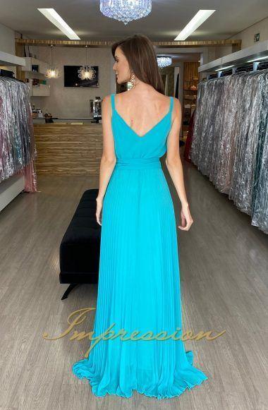 Vestido de festa em musseline, modelo blusê, saia plissada. Lindíssimo