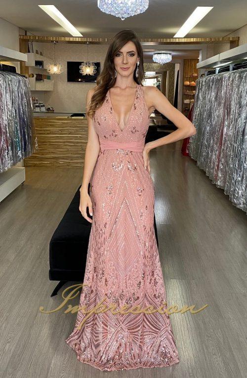 Vestido de Festa Longo Rosé Bordado