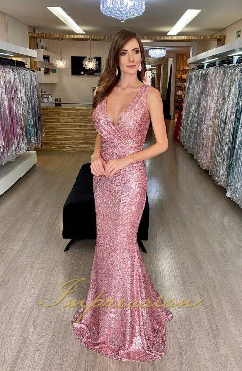 Vestido de Festa Longo Rosé Sereia