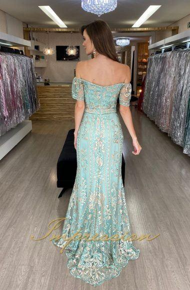 Vestido de Festa Longo Tiffany com Rose Ombro a Ombro
