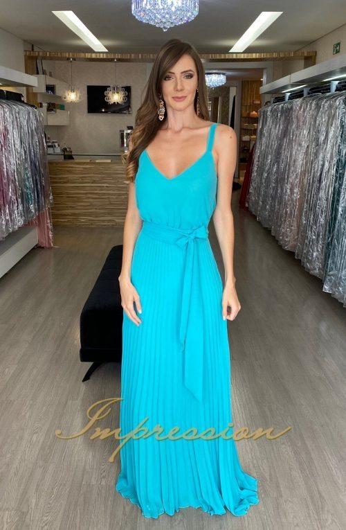 Vestido de Festa Longo Tiffany Plissado