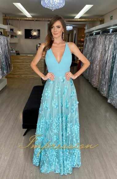 Vestido de Festa Longo Tiffany Tule Bordado em 3D